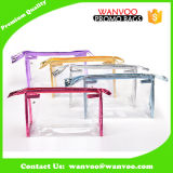 Sac cosmétique de PVC d'espace libre mol fait sur commande avec la tirette pour le produit de beauté de empaquetage et le renivellement