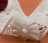 Merletto nuziale del bordo della guarnizione della tessile del tessuto del poliestere della Nigeria Doubai