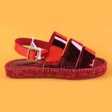 Sandali piani rossi delle scarpe di tela della più nuova di disegno dell'unità di elaborazione cinghia di cuoio dell'inarcamento