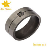 Str 010 CNC 까만 스테인리스 다이아몬드 반지