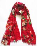 Moda florescer Vermelho Imprimir Lady Cachecol em 100% Viscose (HWBVS053)