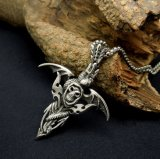 Gothic Skull Men Pendentif Collier Pendentif en Acier Titane