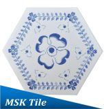 Tintenstrahl-blaue und weiße Fußboden-Hexagon-Fliese Mskqhc005