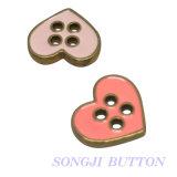 Botón en forma de corazón del broche de presión de la aleación de 4 orificios