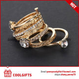 joyería determinada cristalina de oro del anillo de dedo de la manera 7PCS con diversa talla