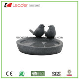 Standbeeld van het Vogelbad van de Minnaars van de Vogel van Polyresin het Hand Geschilderde voor Tuin Decroation