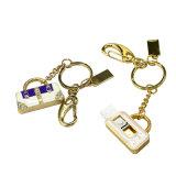 Mecanismo impulsor de lujo cristalino del flash del USB del bolso de mano de Keychain de la joyería