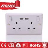 Стенная розетка и переключатели USB 220V Pin силы 3 электрическая