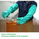 Перчатки химически упорного зеленого нитрила промышленные