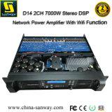 D14 2X7000W Stereo DSP amplificador de potencia de la red con función WiFi