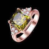 녹색 Zicron 반지 금에 의하여 도금되는 다이아몬드 여자 보석