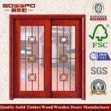Porte coulissante en verre en bois solide de modèle moderne (GSP3-016)