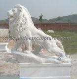 حجارة صوان رخام أسد لأنّ حديقة تمثال نحت حيوانيّ ([س-د047])