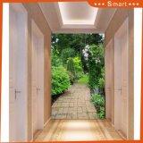 3D Beautiful Backyard Garden Designer pintura a óleo / papel de parede para a porta