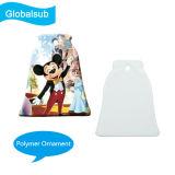 Comercio al por mayor forma de campana decorativa listo para pintar Polymer Ornamento de Navidad para sublimación
