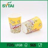 Taza de papel biodegradable de las palomitas del diseño de encargo de la insignia