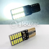 판매 최고 밝은 LED T10 Canbus 아무 과실 24 SMD 4014 차 가벼운 12V W5w 자동 옥수수 속 정리 전구 문 없음 Glowtec도