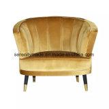 شقّة أثاث لازم رفاهية ينجّد مخمل كرسي ذو ذراعين مع نحاس أصفر ساق