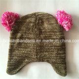 Il Grey su ordinazione del ricamo dei prodotti dell'OEM della fabbrica scherza il cappello del Beanie lavorato a maglia panno morbido polare di Earflap