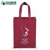 Deux sacs non tissés intenses faits sur commande de traitement de sac d'emballage de vin de bouteille