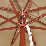 Ombrello esterno del parasole del tessuto del PVC della tonalità rivestita di Sun con il blocco per grafici di legno