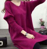 Camisola longa da camisola da V-Garganta (BTQ205)