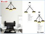 LED de aluminio negro moderna lámpara de araña colgante