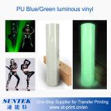 Vinil luminoso azul/do verde da transferência térmica para o vestuário/roupa