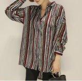 卸し売りポロカラーは女性ワイシャツを縞で飾る