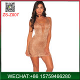 2018 Fashion Golden Knit Sexy Mini vestido de mulher para Night Club