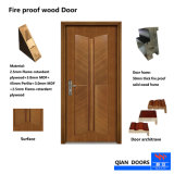 内部のヨーロッパ式の木の火の白のドア