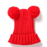 Custom зимние трикотажные для отдыхающих с Pompom Beanie Red Hat для взрослых