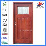 Puerta moldeada de madera exterior tallada vidrio del MDF de madera sólida (JHK-G32-1)