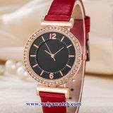 Custom cuero damas relojes de cuarzo Wist aleación, Mujer Watch (WY-17048)