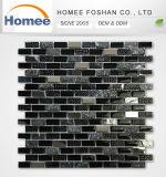 Azulejo de piedra natural mezclado del vidrio de mosaico de la pared de la tira de cristal cristalina del azulejo