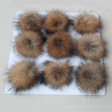 中国の製造者のフェルトの球のキーホルダーののどの毛皮POM POMの毛皮の球