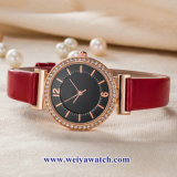 Custom Mesdames montres à quartz de cuir wist, femme de regarder en alliage (WY-17048)