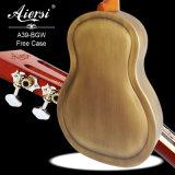 Guitarra de cobre amarillo antigua del resonador de Aiersi Bell con la caja dura de la guitarra
