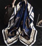 90X90 cm kundenspezifischer Silk Satin-Schal für Dame