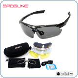 O frame Tr90 Ultra-Resistente Anti-Risca óculos de sol do ciclo da equitação da bicicleta da lente com a lente de 5 recolocações