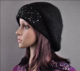 Beanie берета шлема Slouchwarm шариков шерстей женщин связанный Ангора (HW140)
