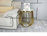 스테인리스 금 센터 차 백색 Carrara 유리제 커피용 탁자