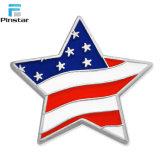 미국 깃발 별 모양 금속 사기질 접어젖힌 옷깃 Pin