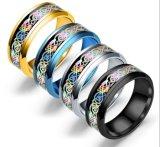 Los hombres el anillo de carburo de tungsteno de la Banda de bodas 8mm Plata/Negro/Azul/Dorado Dragón Celta Inlay acabado polaco