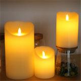 مصنع إمداد تموين منزل شمعة زخرفيّة بيضاء عديم لهب شمع عمود [لد] شمعة