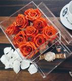 Caja flor rosa acrílico cuadrado con el cajón de Chocolate