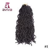 """(24のルート1パック) 20の""""波状ののどLocsのかぎ針編みの総合的な組みひもの毛の柔らかい巻き毛のFauxlocsハバナのマンボのねじれのKanekalonの毛の拡張ブレード"""
