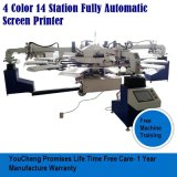 Garment를 위한 4 색깔 14 Station Automatic Screen Printing Machine