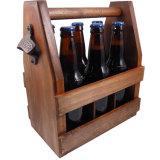 Fácil carreg a caixa de madeira material do portador da cerveja do pinho da cor vermelha