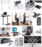 Support de ressort mécanique duel noir élégant et bras de bureau de moniteur avec le plateau de support d'ordinateur portatif